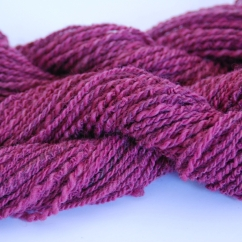 This hand spun, vat dyed 2-ply has a delicate color variance due to blending differently colored mohair in with the wool during spinning. 70% Friesan Wool, 30% mohair. 2@ 88 grams, 74 yds. $9.25 each plus shipping