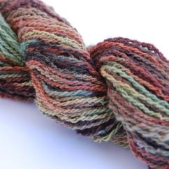 #1807 100% Finn Wool Handspun, Hand painted 2-ply hand painted 81 gr 116 yds $14.50